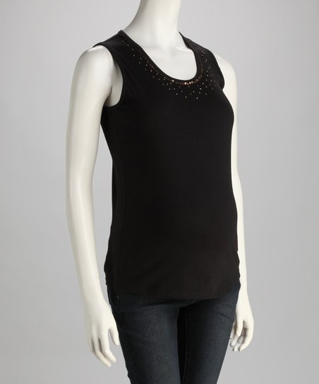 Black Embellished Maternity Tank - Women