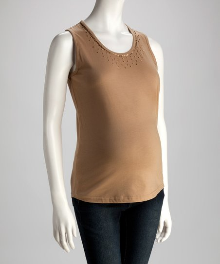 Khaki Embellished Maternity Tank