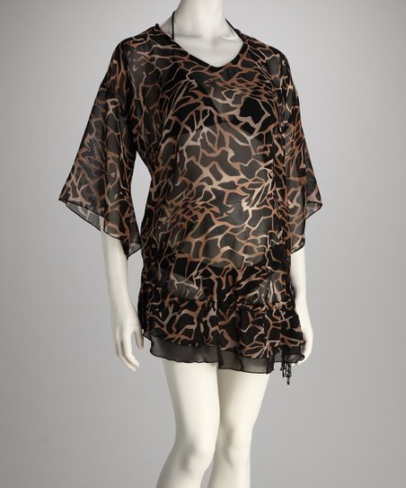 Black & Beige Abstract Maternity Cover-Up - Women