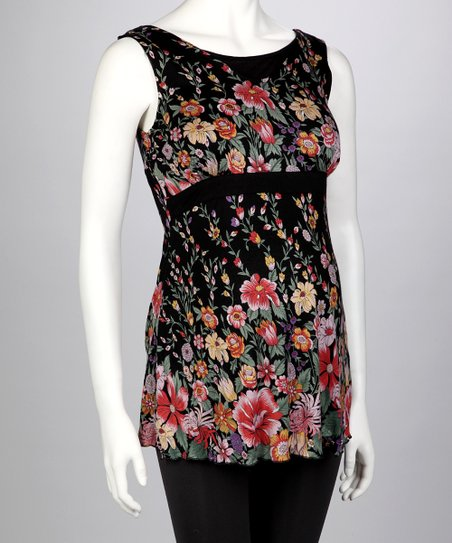 Black Floral Maternity Tank - Women