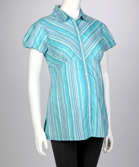 Blue Stripe Maternity Button-Up - Women