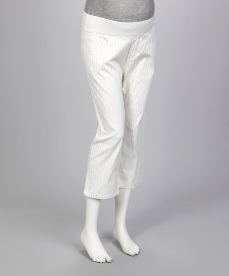 White Pinstripe Under-Belly Maternity Capri Pants