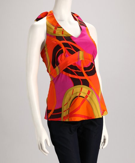 Orange & Pink Maternity Halter Top - Women