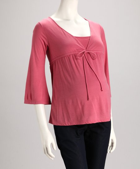 Rose Front-Tie Maternity V-Neck Top