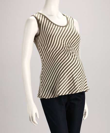 Olive Stripe Maternity Sleeveless Top - Women