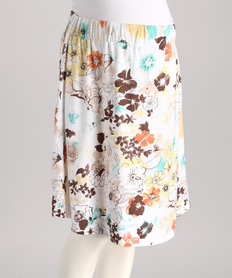 White Flower Maternity Skirt - Women