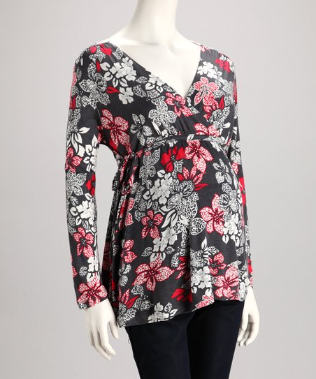 Black & Red Floral Maternity V-Neck Top - Women
