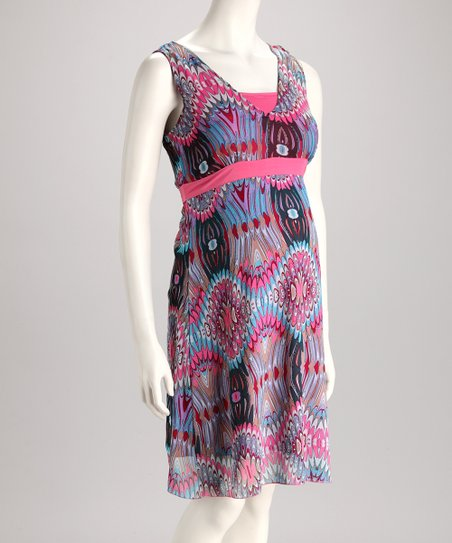 Pink & Blue Geometric Maternity Dress - Women