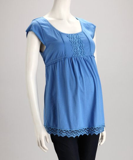 Blue Lace Maternity Cap-Sleeve Top - Women