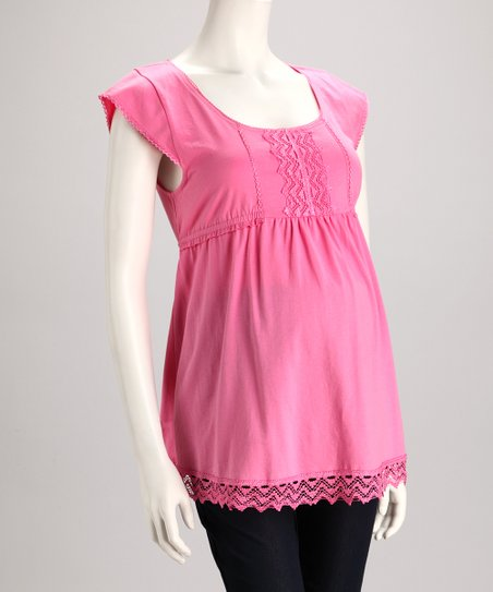 Pink Lace Maternity Cap-Sleeve Top - Women