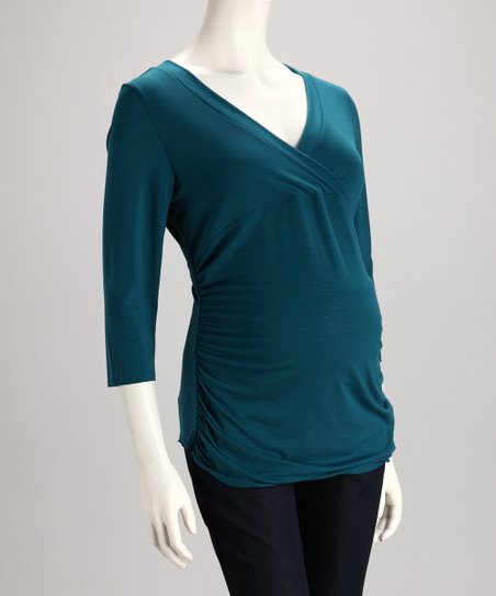 Teal Maternity V-Neck Top - Women