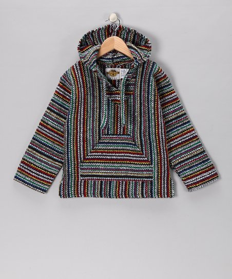 Purple & Blue Stripe Baja Hoodie - Girls