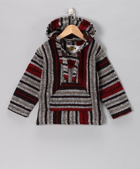 Navy & Berry Stripe Baja Hoodie - Girls