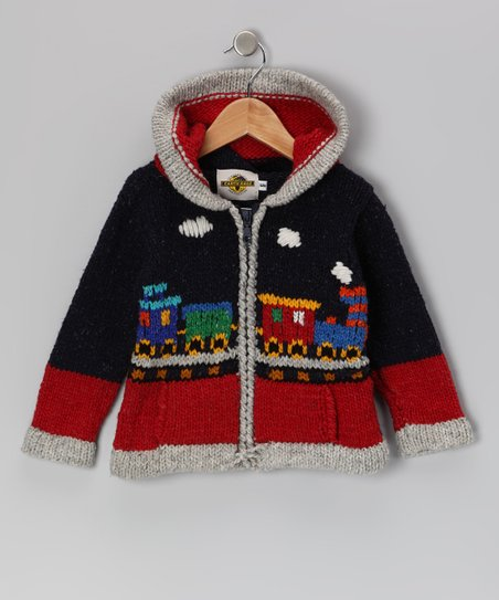 Red & Navy Train Wool-Blend Zip-Up Hoodie - Boys