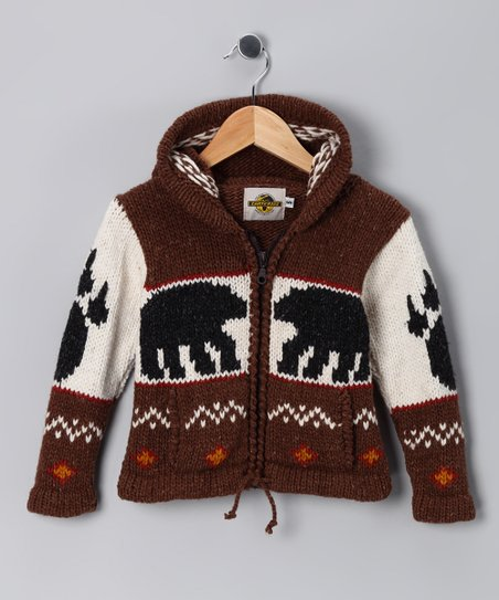 Brown Bear Paw Wool-Blend Zip-Up Hoodie - Toddler & Kids