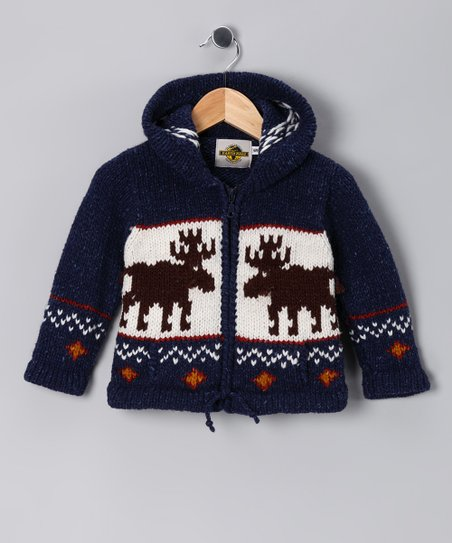 Navy Moose Wool-Blend Zip-Up Hoodie - Toddler & Boys