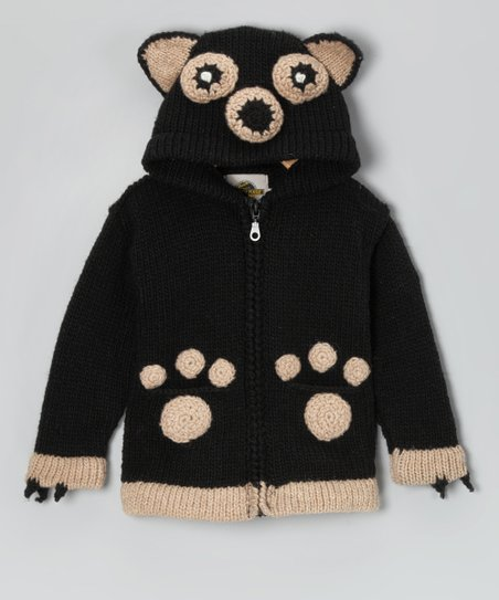 Brown Bear Wool-Blend Zip-Up Hoodie - Toddler & Kids
