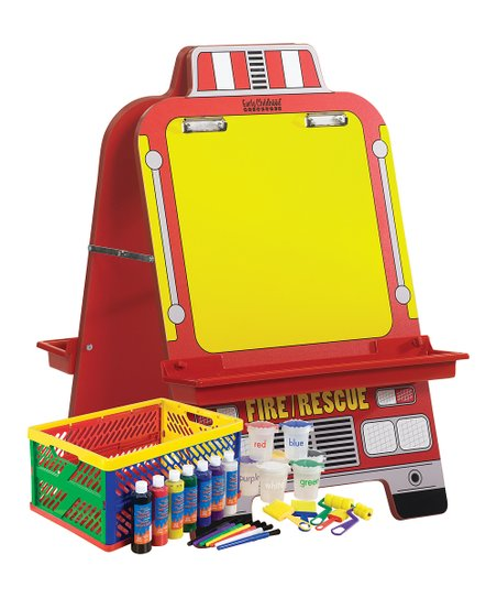 Fire Engine Easel & 27-Piece Paint Crate Set