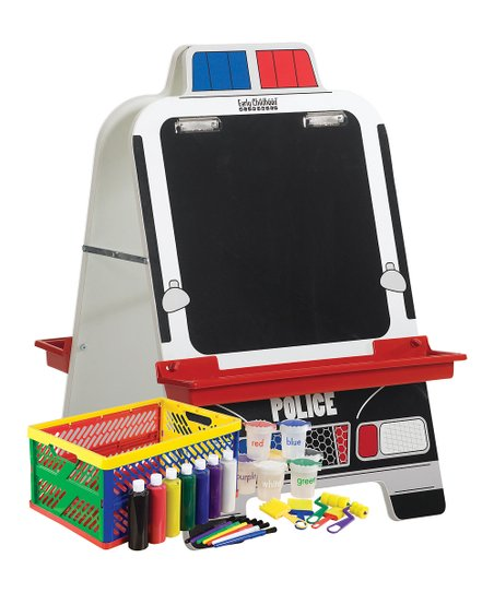 Police Car Easel & Paint Crate Set