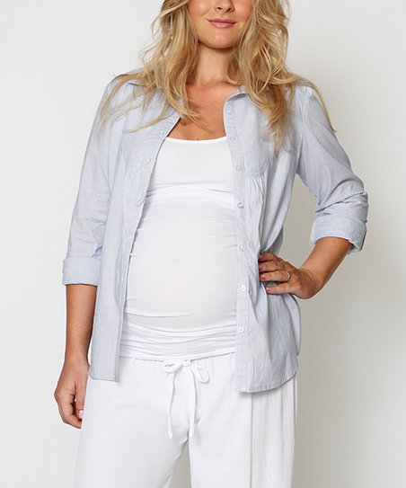 Cornflower Audrey Maternity Button-Up