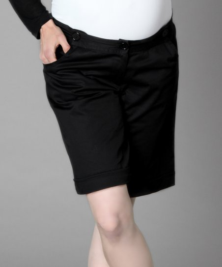 Black Button Under-Belly Maternity Shorts
