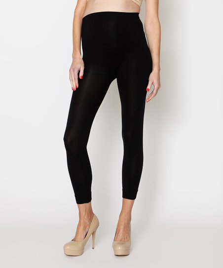 Black Lucky Legs Over-Belly Maternity Leggings - Women