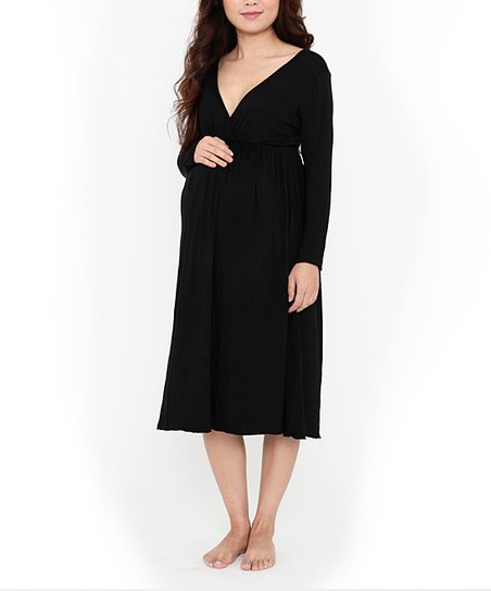 Black Milkbar Maternity & Nursing Nightgown - Women