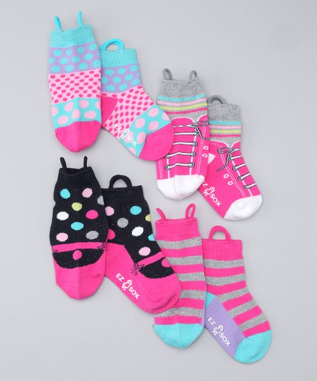 Pink & Black Mary Jane & Sneaker Socks Set