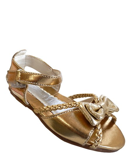 Gold Bow Ankle Strap Sandal - Toddler