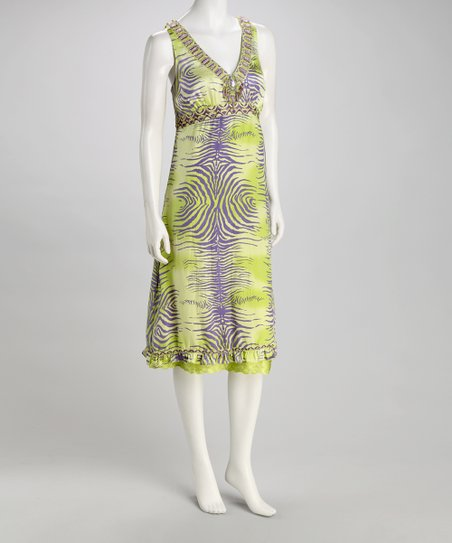 Green Zebra Silk Embellished Dress