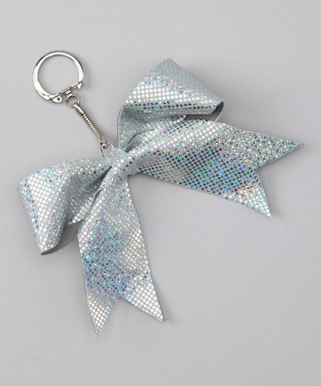 Metallic Silver Mystique Cheer Bow Key Chain