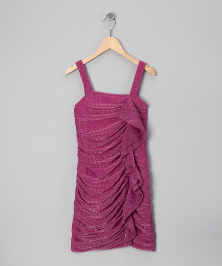 Fuchsia Shimmer Ruched Dress