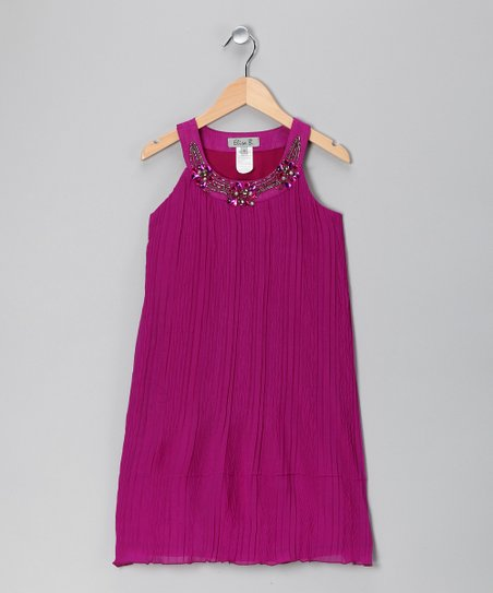 Purple Chiffon Yoke Dress