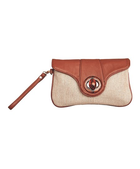 Brown Textured Wristlet