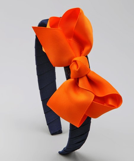 Navy & Orange Bow Headband