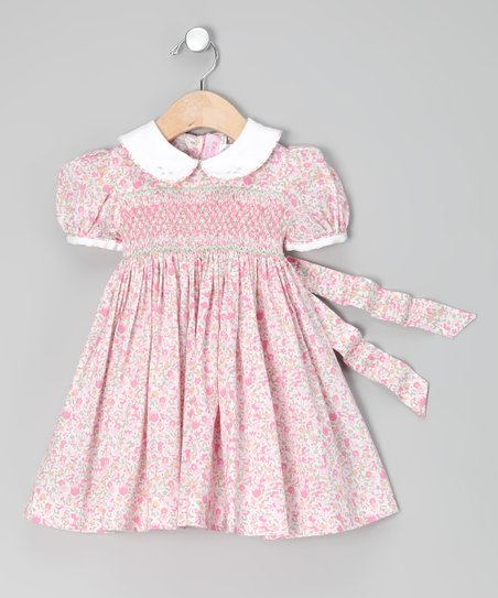 Pink Roma Floral Smocked Dress - Girls
