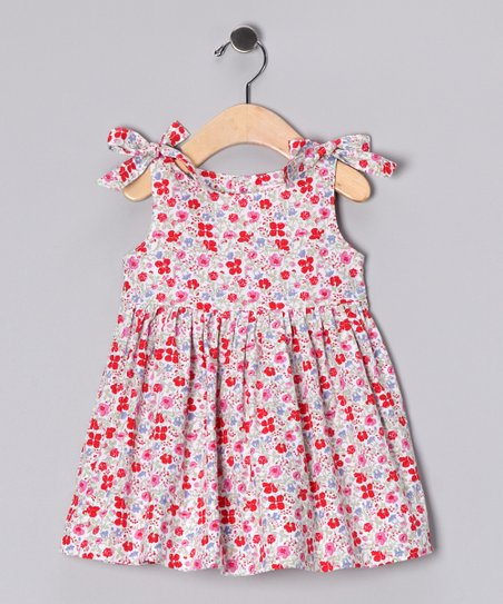 Red Floral Tie-Sleeve Dress - Infant, Toddler & Girls