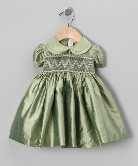 Emily Lacey Sage Floral Smocked Silk Dress - Infant & Girls