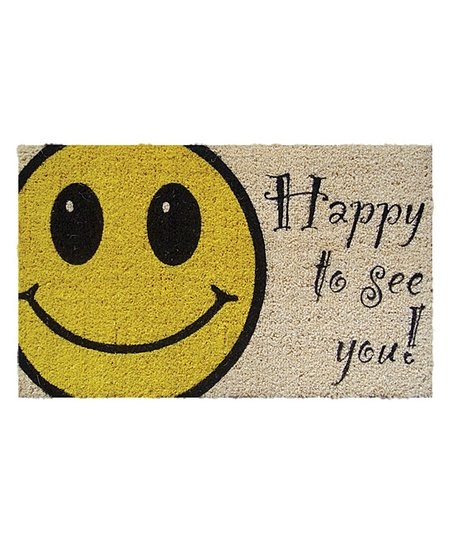 'Happy to See You' Handwoven Doormat