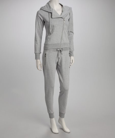 Heather Gray Asymmetric Zip-Up Hoodie & Pants