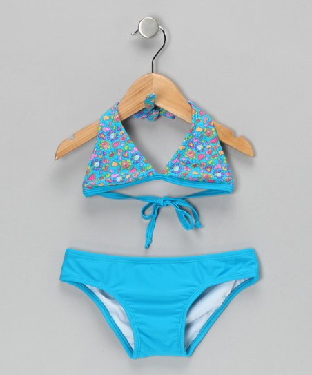 Blue Summer Blossom Bikini - Girls