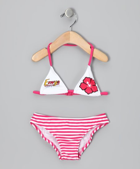 Fuchsia Hawaiian Stripe Bikini - Girls