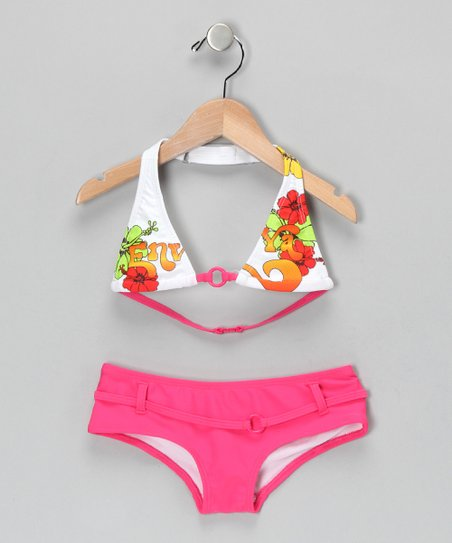 Fuchsia Floral Bikini - Girls