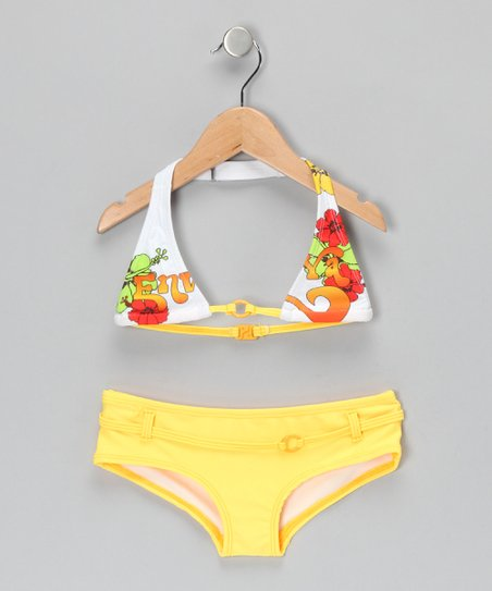 Yellow Floral Bikini - Girls