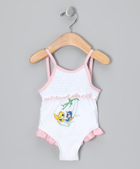 White Summer Bird One-Piece - Infant