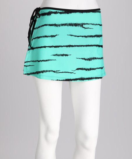 Green Zebra Wrap Skirt - Women