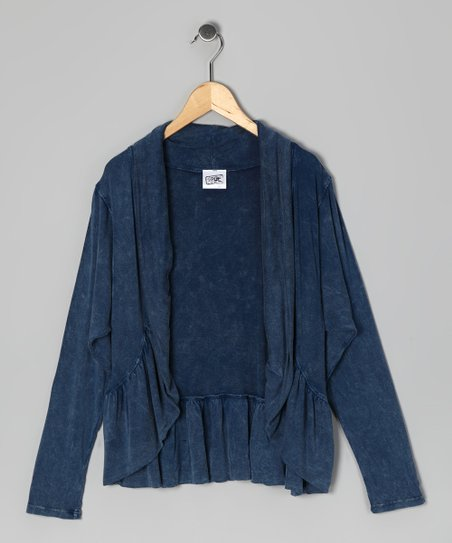 Navy Mineral Wash Open Cardigan - Girls