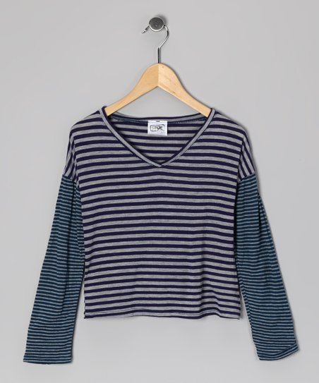 Navy Mixed Stripe V-Neck Top - Girls