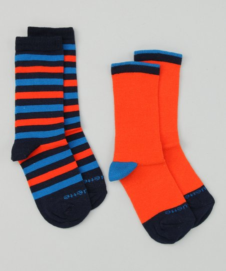Azure Blue & Orange Peel Happy Stripe Socks Set