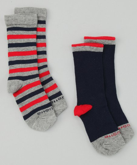 Estate Blue & Fire Red Happy Stripe Socks Set